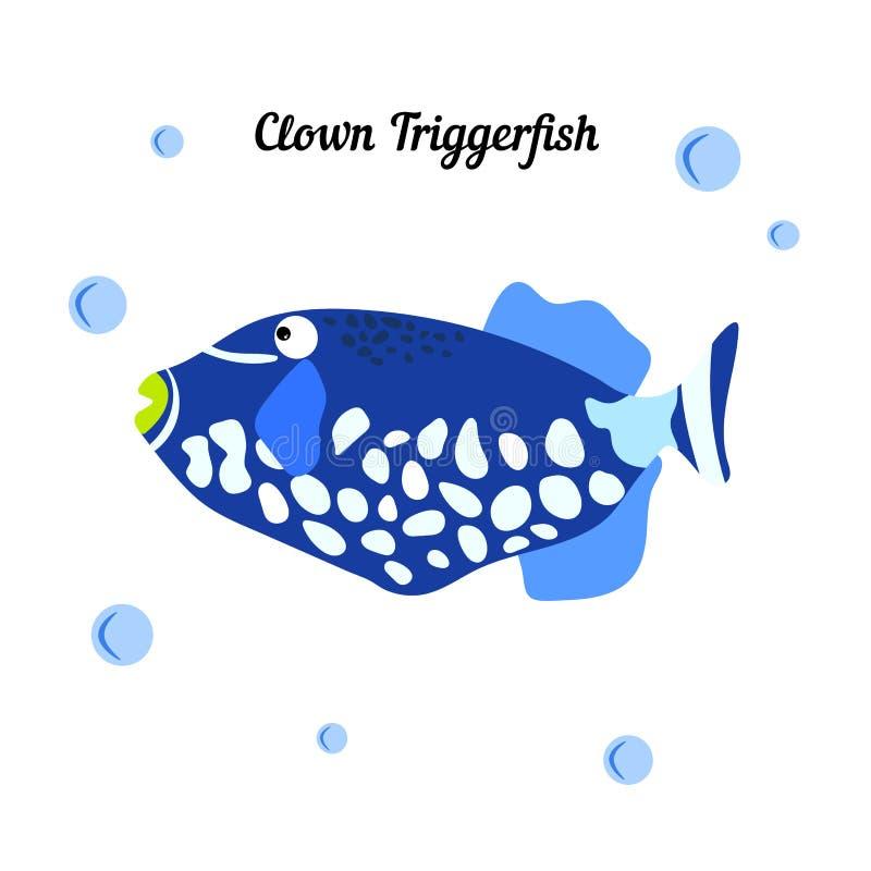 Pagliaccio tropicale Triggerfish - balistoides conspicillum del pesce nel fondo bianco Bubbless blu di Whith Mare del fumetto royalty illustrazione gratis