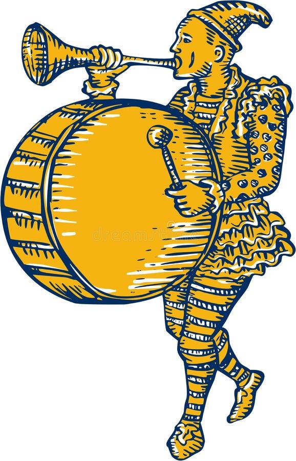 Pagliaccio With Trumpet ed incisione in marcia del tamburo illustrazione vettoriale