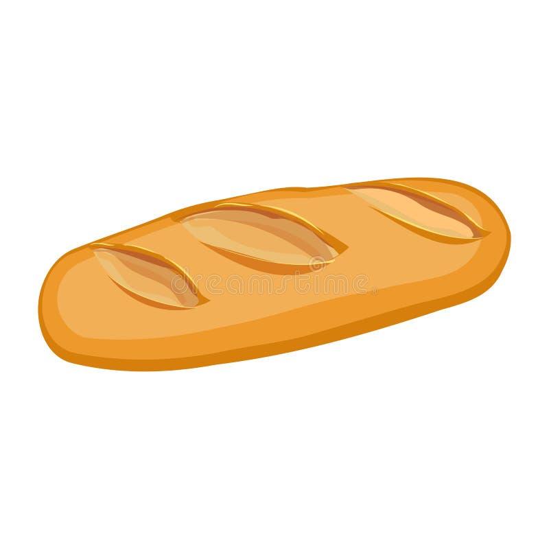 Pagnotta lunga dell'oggetto materiale piano di progettazione del pane integrale isolato royalty illustrazione gratis