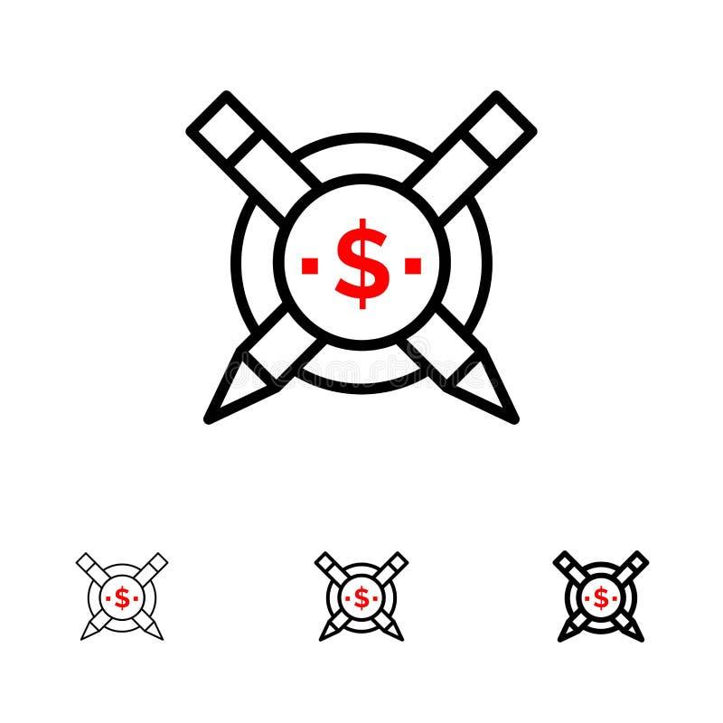 Pago, artigos, linha preta corajosa e fina paga grupo dos artigos, das Digitas do ícone ilustração royalty free