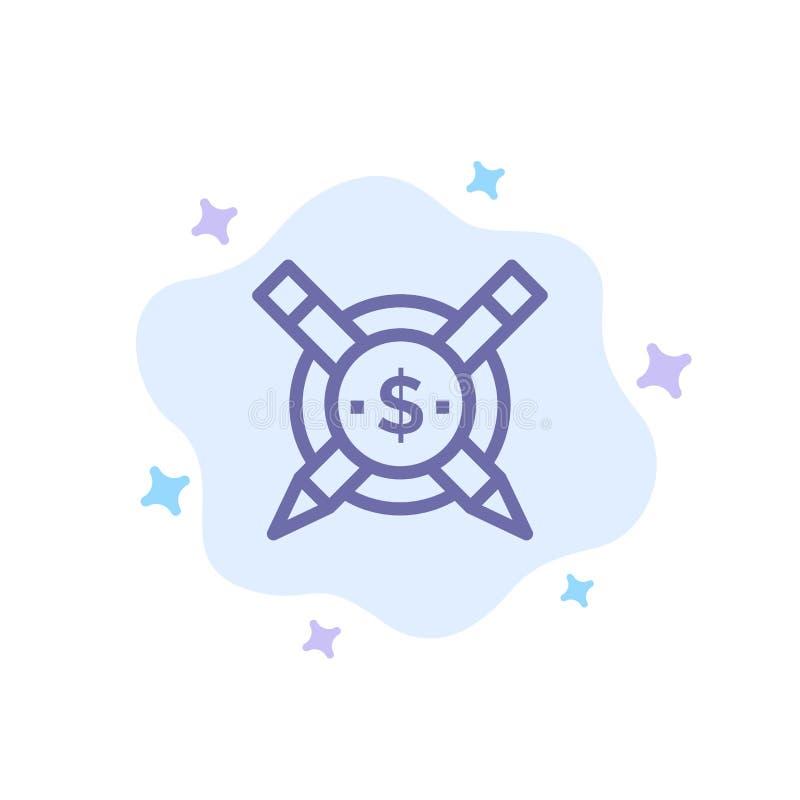 Pago, artigos, artigos pagos, ícone azul de Digitas no fundo abstrato da nuvem ilustração royalty free