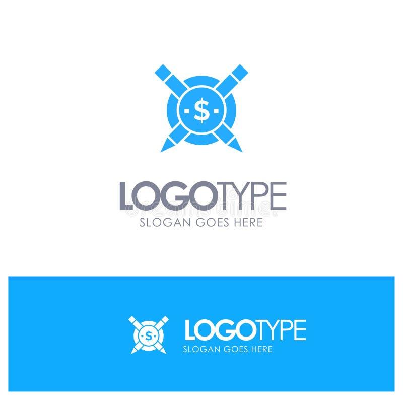 Pago, artigos, artigos pagos, logotipo contínuo azul de Digitas com lugar para o tagline ilustração stock