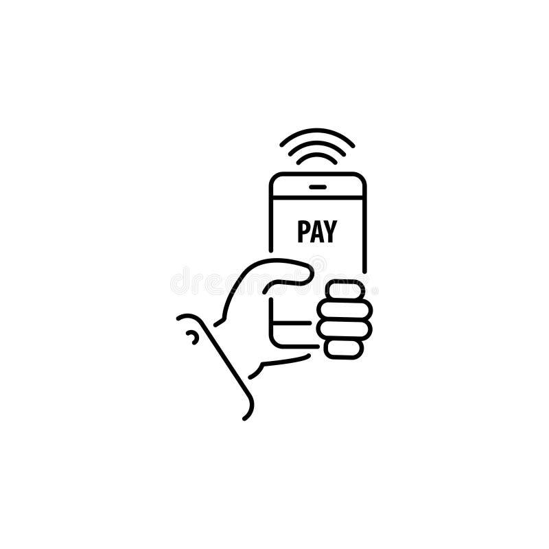 Pago con la línea del smartphone, icono linear del vector, muestra móvil en línea del pago libre illustration