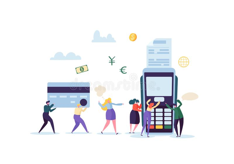 Pago con tarjeta de crédito por concepto terminal con la gente plana Transacción financiera con los caracteres y el dinero ilustración del vector