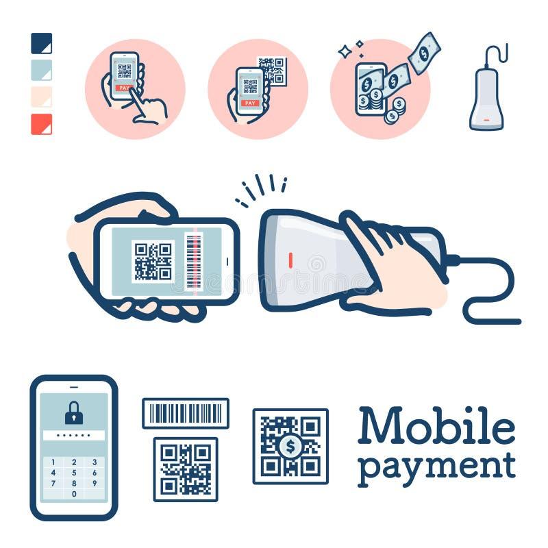 Pago de código Cashless_QR ilustración del vector