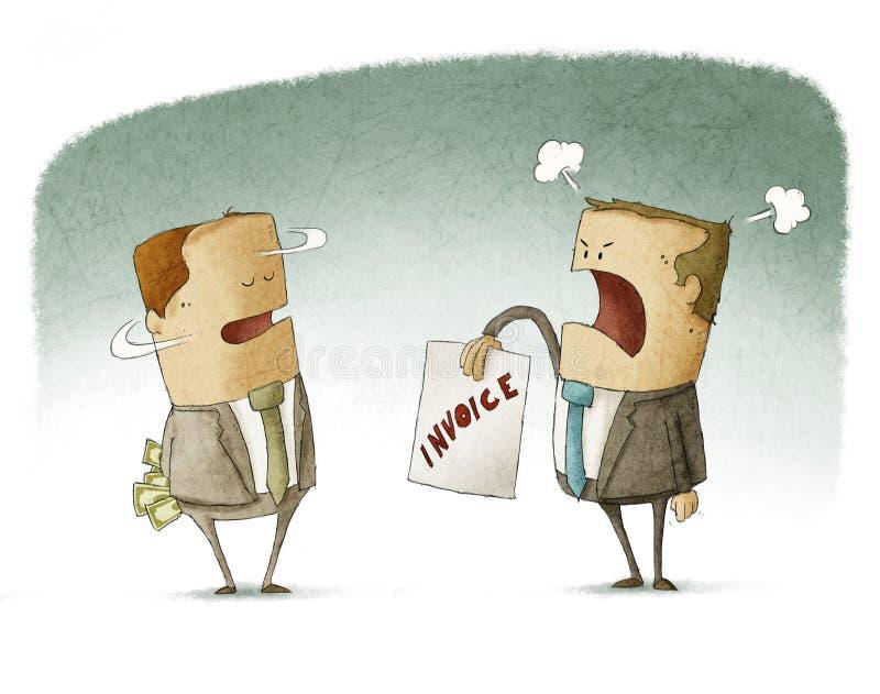 Pago de dinero de ocultación del hombre de negocios stock de ilustración