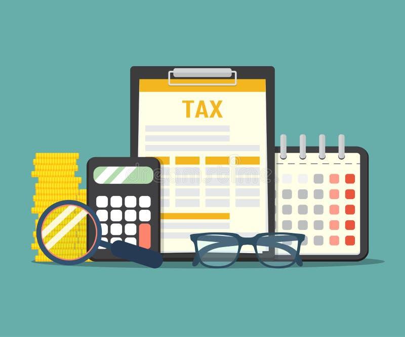 Pago de impuestos del concepto Análisis de datos, papeleo, informe de la investigación financiera y cálculo de la declaración de  ilustración del vector