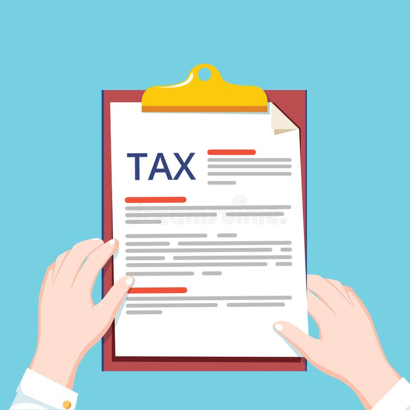 Pago de impuestos del concepto Papeleo, informe de la investigación financiera y cálculo de la declaración de impuestos Ilustraci ilustración del vector