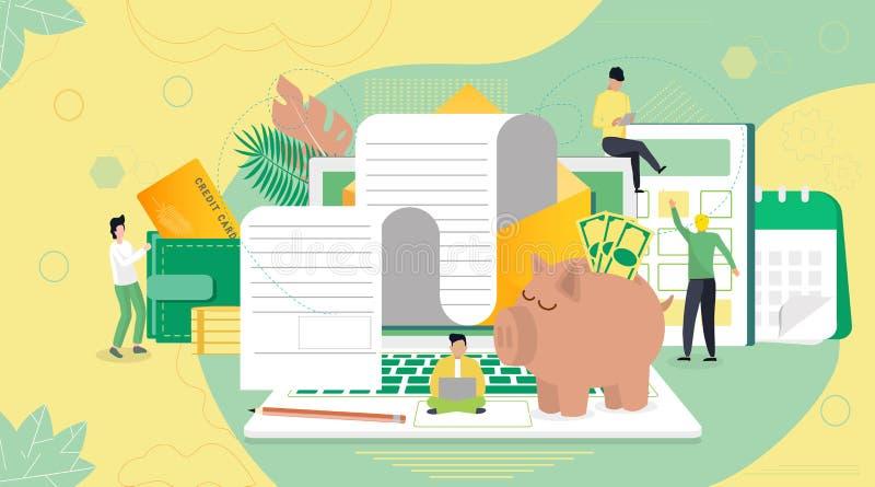 Pago de impuestos en línea, informe de las finanzas del crédito, concepto de la factura, ilustración del vector