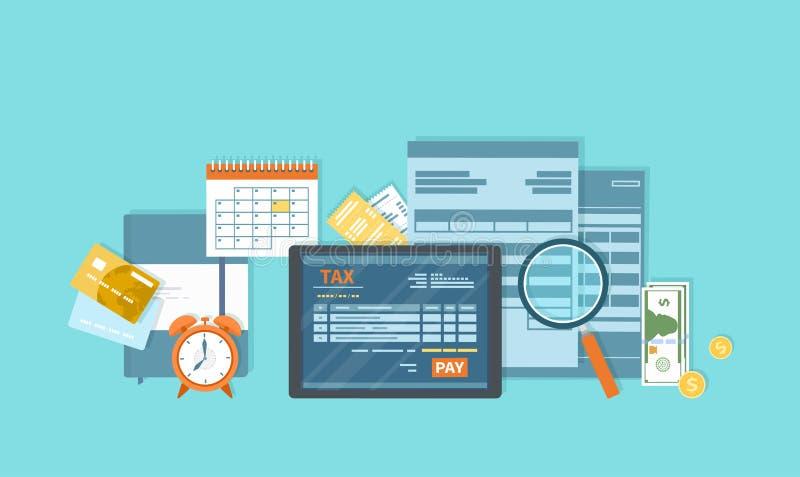 Pago de impuestos Servicio móvil del pago Impuestos estatales del gobierno Forma de impuesto, calendario financiero, dinero, tarj ilustración del vector
