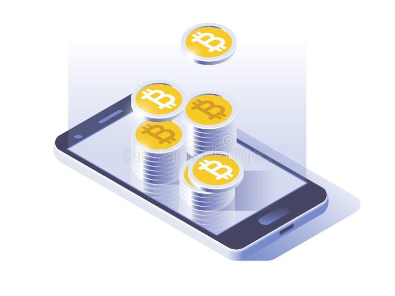Pago de la moneda de Bitcoin y concepto en línea de la cartera Pantalla elegante del teléfono con el dinero Diseño del ejemplo 3d stock de ilustración