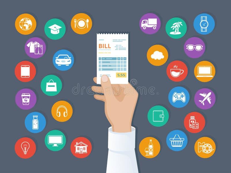 Pago de mercancías, servicios, utilidad, restaurante Bill en mano del hombre Sistema de iconos del servicio Orden de la factura d stock de ilustración