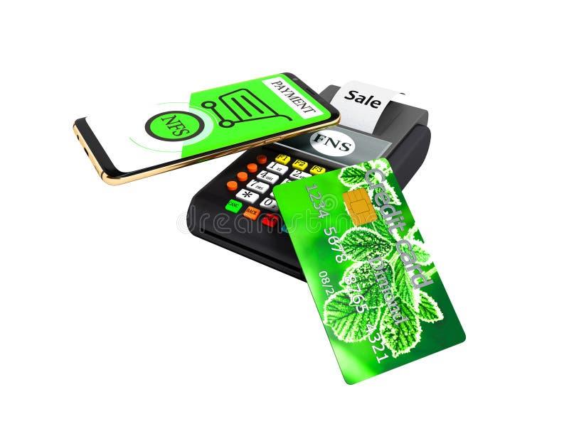 Pago del NFS por el teléfono con la tarjeta de crédito verde en la representación del Posición-terminal 3D de la tarjeta del pago stock de ilustración