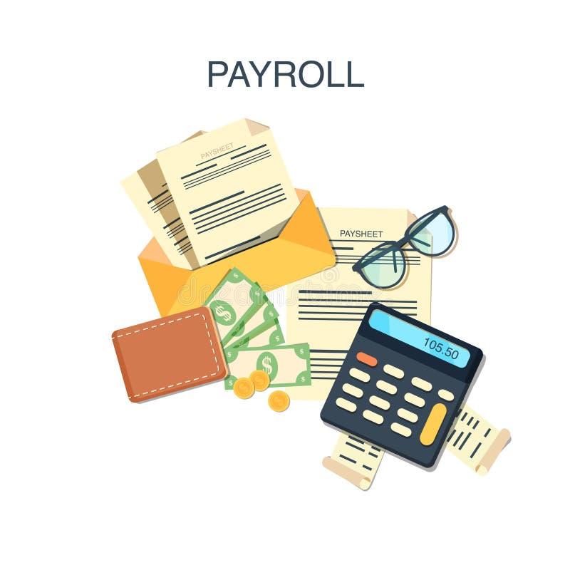 Pago del sueldo de la nómina de pago stock de ilustración