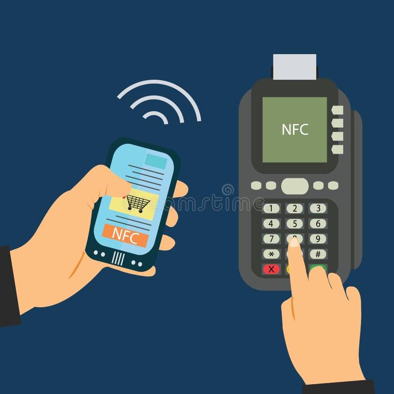 Pago del teléfono móvil en tiendas con el sistema del nfc Detalle del terminal y del móvil de la posición Visión superior fotos de archivo libres de regalías