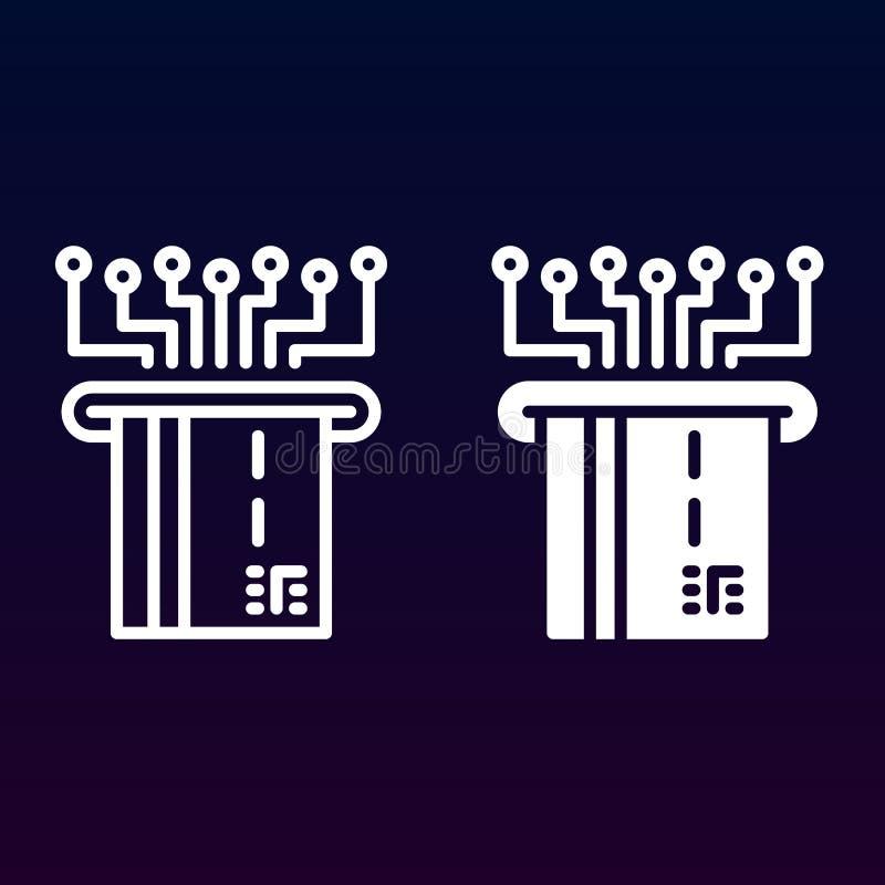 Pago electrónico con la línea plástica de la tarjeta y el icono sólido, esquema y pictograma llenado de la muestra del vector, li libre illustration
