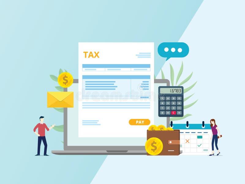 Pago en línea de la factura del impuesto con el ordenador portátil y la gente - vector de la calculadora del documento de papel ilustración del vector