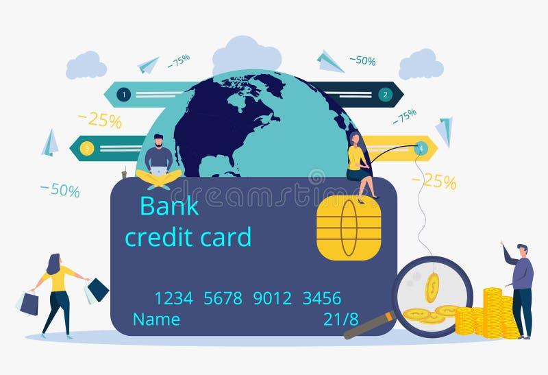 Pago en línea para las mercancías, servicios, actividades bancarias Atracción de clientes, compradores Metáfora de las compras en libre illustration
