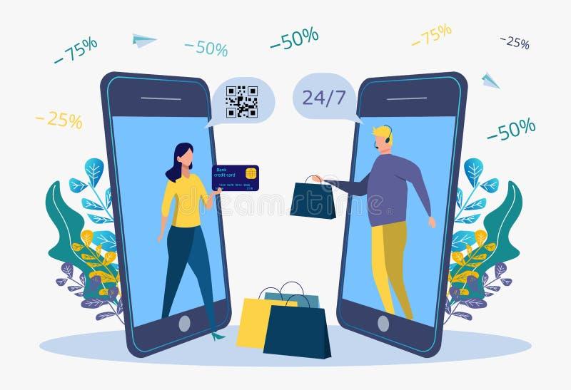 Pago en línea para las mercancías, servicios, actividades bancarias Atracción de clientes, compradores Metáfora de las compras en stock de ilustración