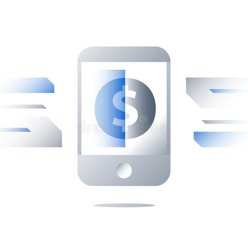 Pago inmediato inalámbrico, concepto de la tecnología del pago del smartphone, servicios bancarios móviles, muestra de dólar en l libre illustration