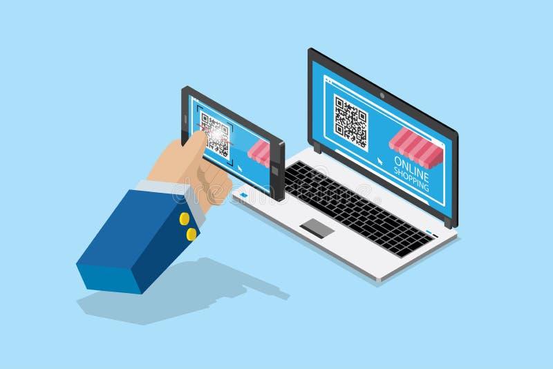 Pago isométrico y compras en línea por código del qr con el smartphone, concepto del negocio ilustración del vector