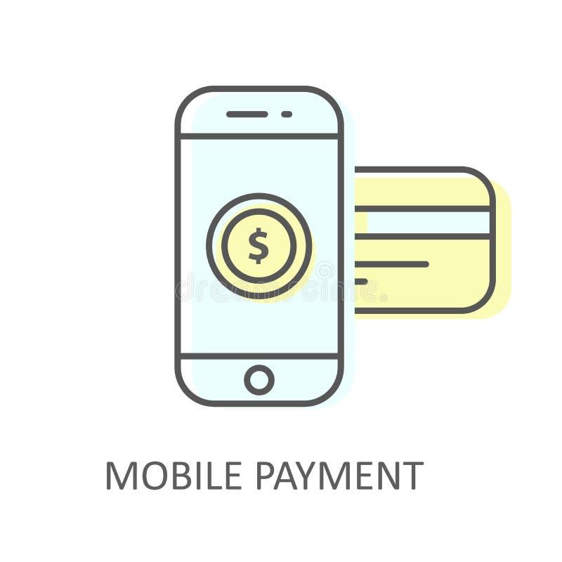 Pago móvil con la tarjeta de crédito insertada - icono en línea de la compra, smartphone libre illustration