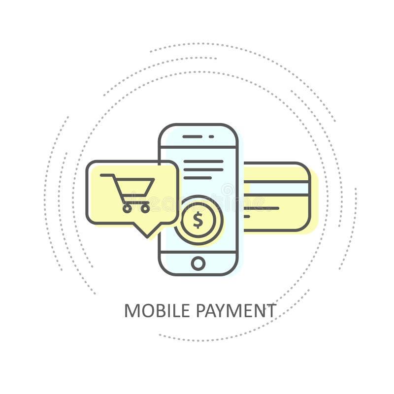Pago móvil en línea con el icono de la tarjeta de crédito - smartphone, carro de la compra libre illustration