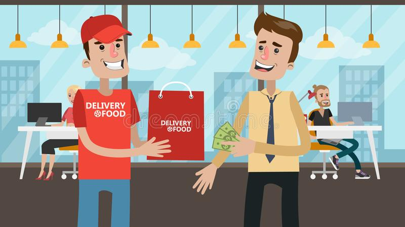 Pago para la comida de la entrega stock de ilustración