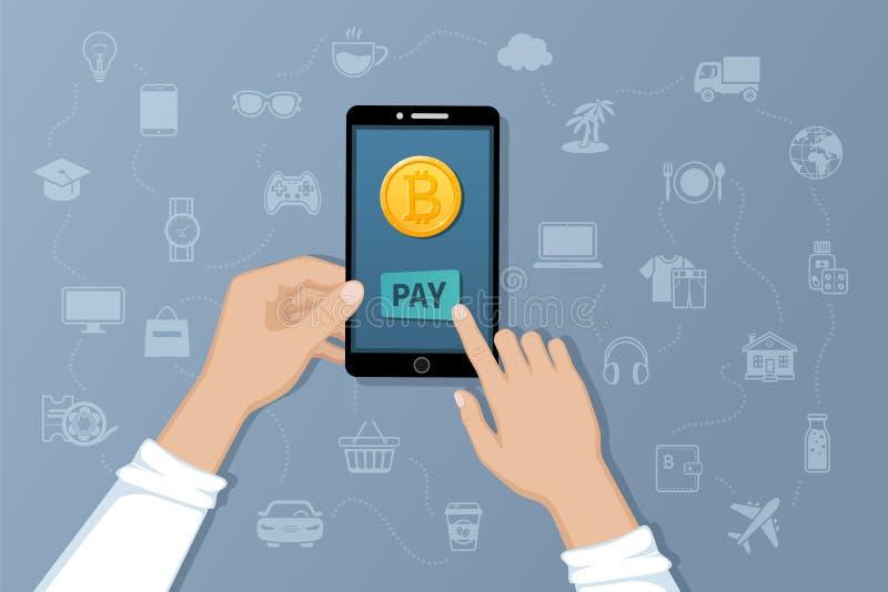 Pago por Bitcoins Pague bienes y servicios por moneda crypto Transferencias del international del servicio del pago stock de ilustración