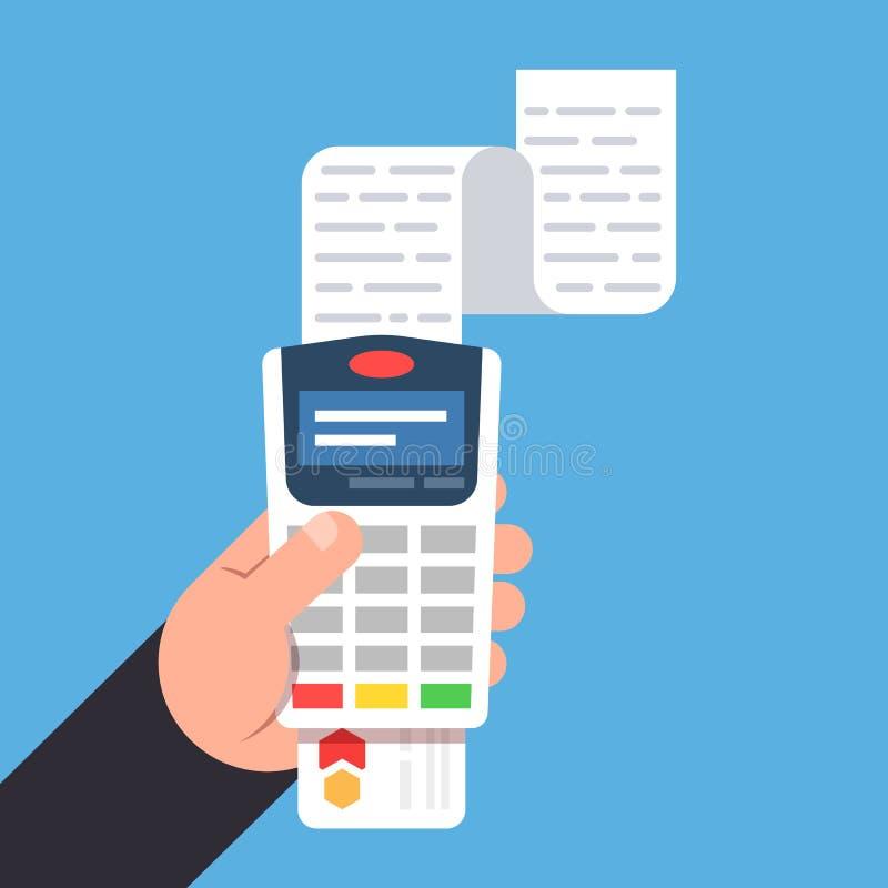Pago por la tarjeta de banco Terminal del pago en la mano de la persona Recibo de las ventas Ejemplo plano del vector stock de ilustración