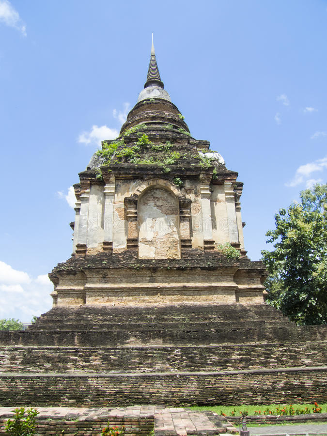 Pagod på Wat Jed Yod, Chiangmai Thailand royaltyfria foton
