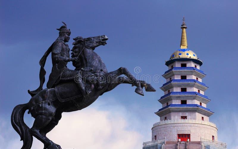 pagoda Монгол кавалерии стоковая фотография rf