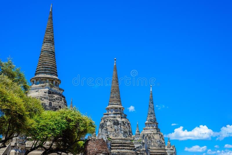 Pagoda antigua en Wat Phrasisanpetch (Phra Si Sanphet) Ayutthay fotos de archivo libres de regalías