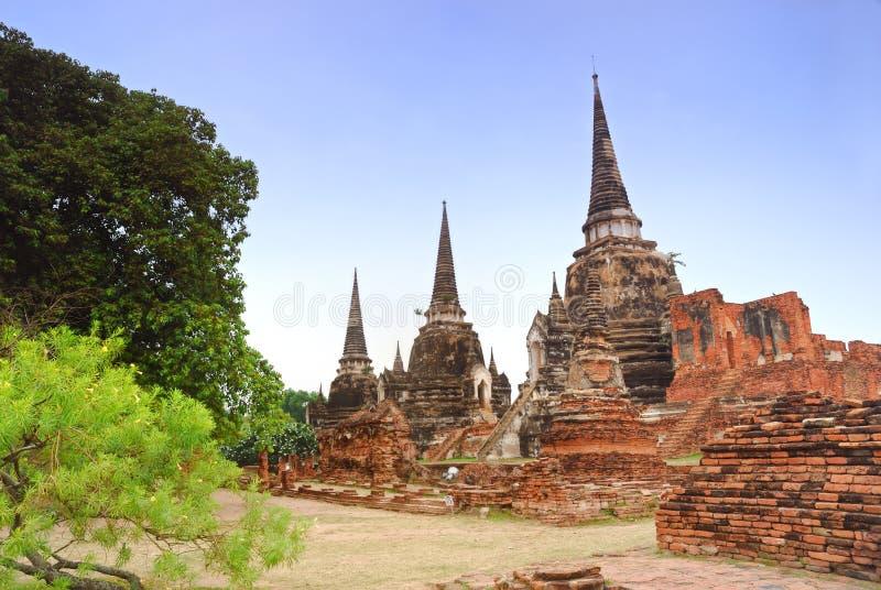 Pagoda antigua hermosa tres en el templo de Ayuttaya Tailandia imágenes de archivo libres de regalías