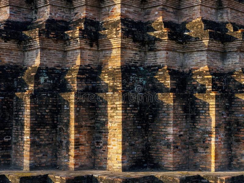 Pagoda Architecture details Brick Pattern texture Background. Asia Art architecture stock images