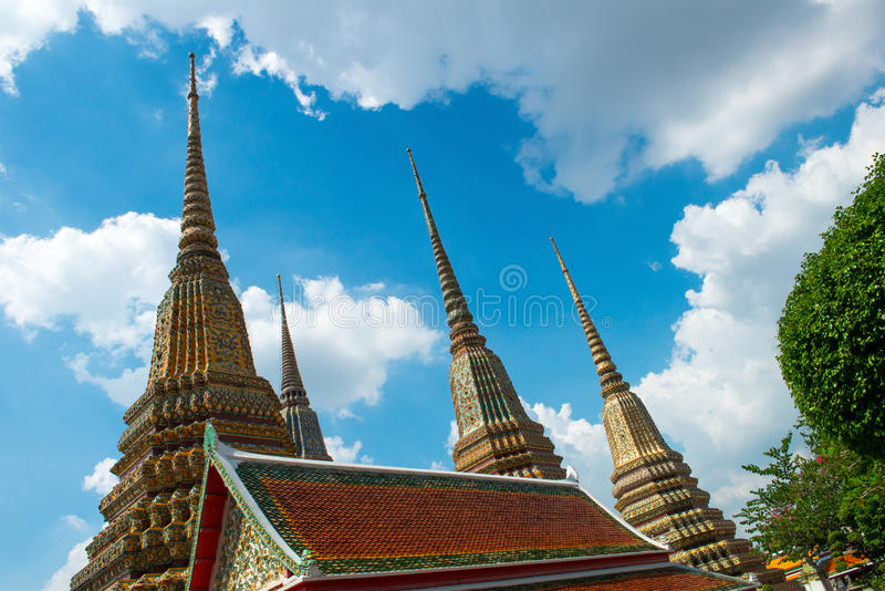 Pagoda Architecture, Wat Pho, Thailand Travel. Pagoda architecture at the reclining Buddha of Wat Pho temple in Bangkok, Thailand. Asia and the orient is a royalty free stock image