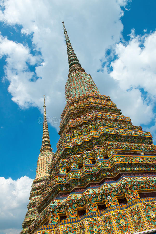 Pagoda Architecture, Wat Pho, Thailand Travel. Pagoda architecture at the reclining Buddha of Wat Pho temple in Bangkok, Thailand. Asia and the orient is a stock images