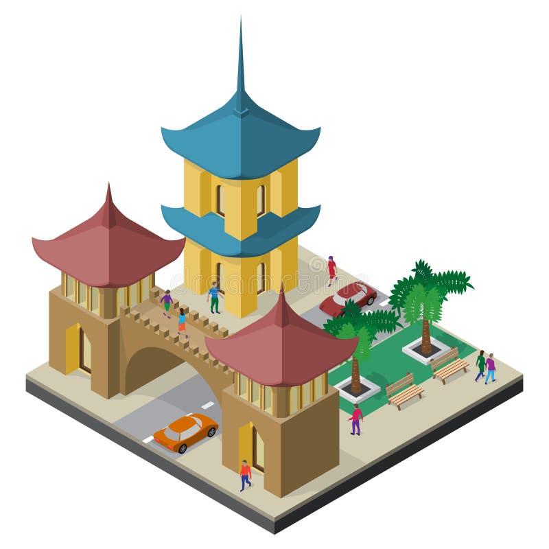 Pagoda, arco arquitectónico, camino, bancos, árboles, coches y gente Paisaje urbano isom?trico del Este de Asia stock de ilustración