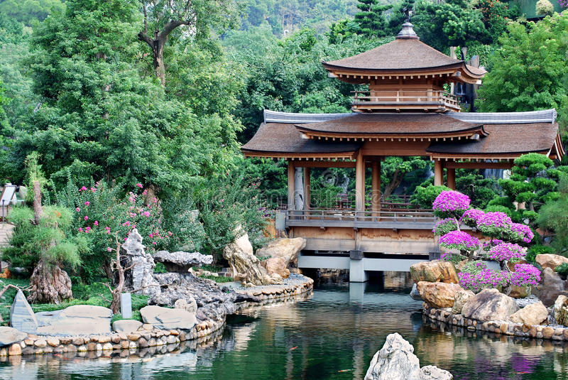 Pagoda of Asian temple. And typical Chinese style pond stock photo