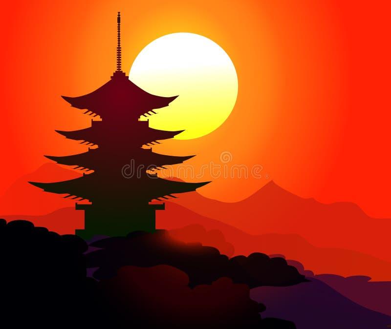 Pagoda au temps de coucher du soleil - vecteur illustration libre de droits