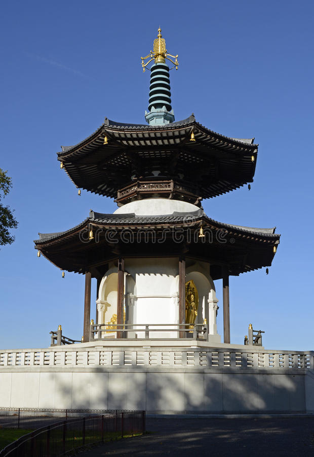 Pagoda in Battersea Park, London, England. Peace Pagoda in Battersea Park by River Thames, London, England royalty free stock photos