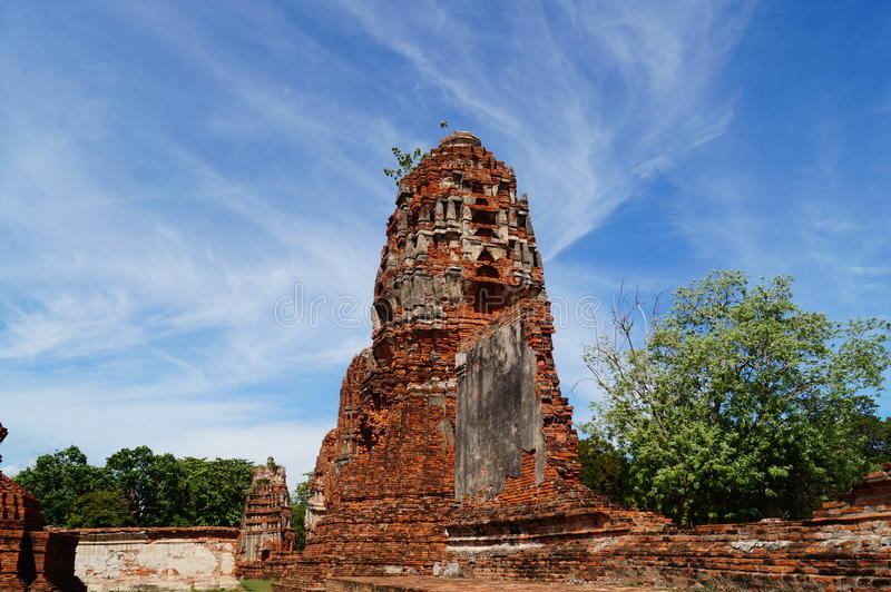 Pagoda with blue sky at Ayutthaya, Thailand. stock images