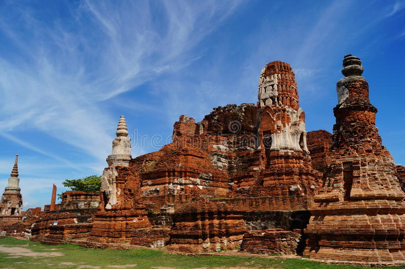 Pagoda with blue sky at Ayutthaya, Thailand. stock photo