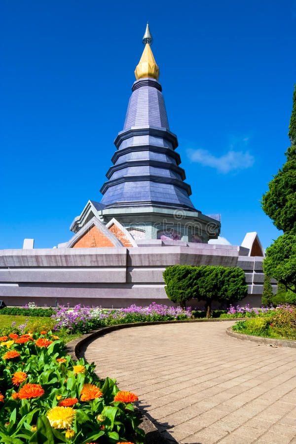 Pagoda with blue sky. at Chiang Mai, Thailand. Pagoda with blue sky at Chiang Mai in Thailand stock photography