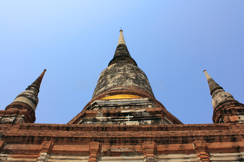 Pagoda in blue sky at wat yai chaimongkol. Temple, ayutthaya royalty free stock photography