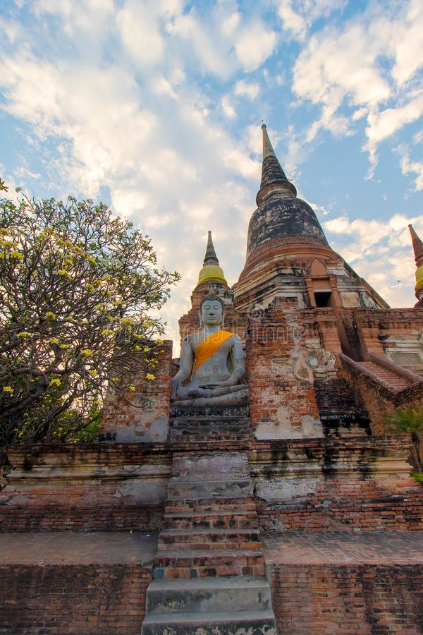 The Pagoda and Buddha Status at Wat Yai Chaimongkol, Ayutthaya, royalty free stock photography