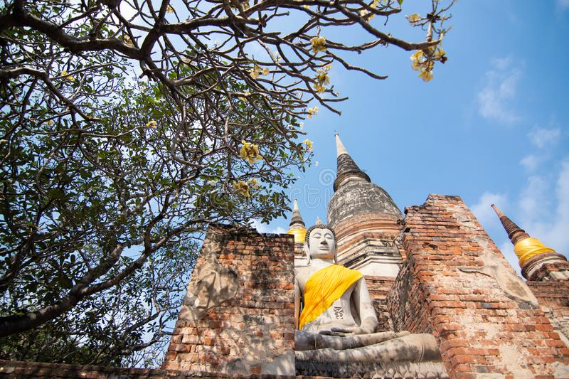 Pagoda and Buddha Status at Wat Yai Chaimongkol, Ayutthaya. Thailand stock images