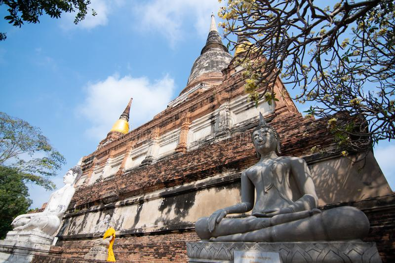 Pagoda and Buddha Status at Wat Yai Chaimongkol, Ayutthaya. Thailand royalty free stock photography