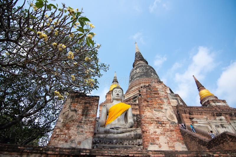 Pagoda and Buddha Status at Wat Yai Chaimongkol, Ayutthaya. Thailand stock photos