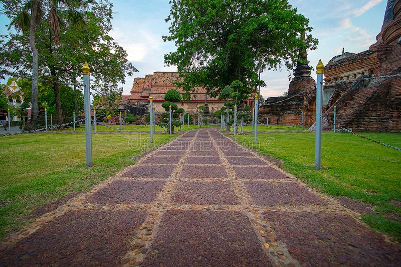 The Pagoda and Buddha Status at Wat Yai Chaimongkol, Ayutthaya,. The Temple area and Buddha Status at Wat Yai Chaimongkol, Ayutthaya, Thailand stock photos